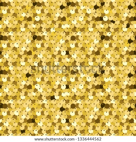 Gold sequins seamless pattern. Luxury vector background. Texture of fabric with glisten paillettes.
