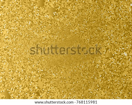 Gold sequins texture. Abstract halftone background. Vector golden pattern of round elements.