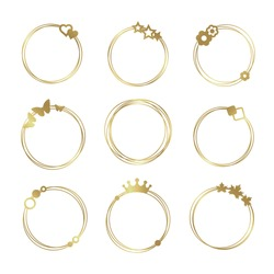 Gold set of vector graphic circle frames. Wreaths for design, logo template.