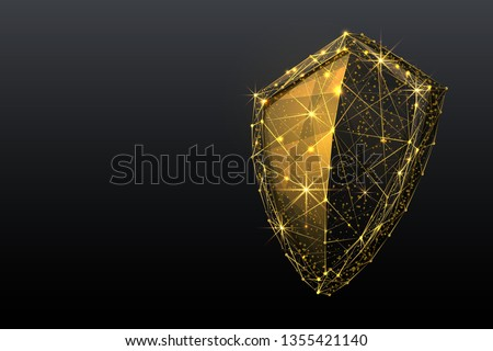 Gold Shield. Abstract wireframe vector illustration on dark blue. Protect and Security of Safe concept. Low poly golden starry sky digital 3d modern image or background. Polygonal knight sign
