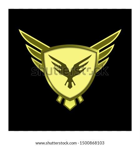 gold shield vector, emblem for gui.