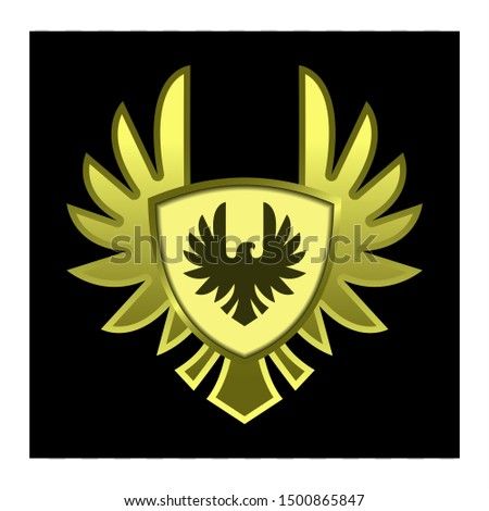 gold Shield with wings for gui, emblem or badge vector.