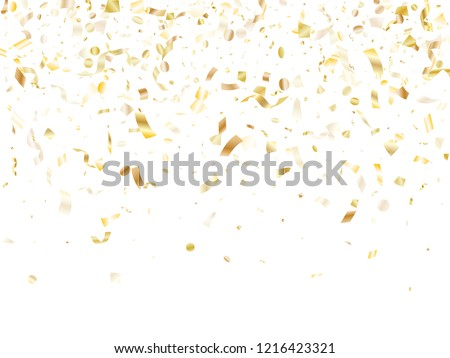 Gold shining confetti flying on white holiday vector background. VIP flying tinsel elements, gold foil texture serpentine streamers confetti falling party vector.