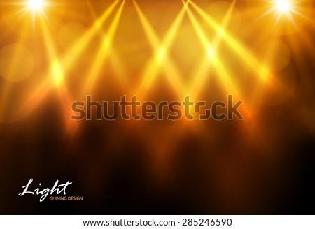 gold shining spotlights vector