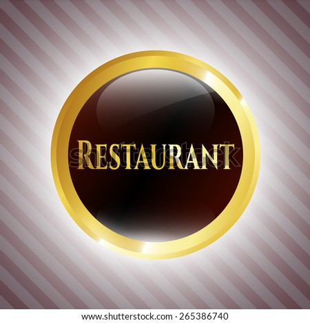 Gold shiny badge with text restaurant inside