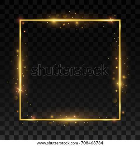 Gold shiny frame on a transparent background. vector illustration