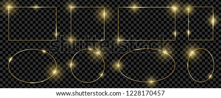 Gold shiny glowing frames set with shadows isolated on transparent background. Pack of luxury realistic square, round, oval borders. Vector illustration