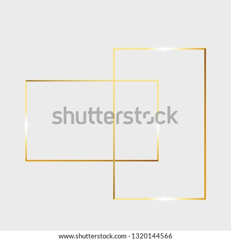 Wall mural Gold shiny glowing vintage frame isolated on transparent background. Golden luxury realistic rectangle border. Vector illustration engraved ink art.