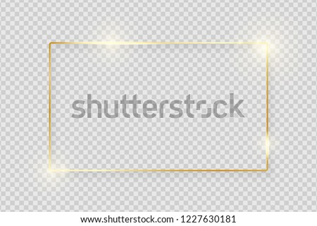 Gold shiny glowing vintage frame with shadows isolated on transparent background. Golden luxury realistic rectangle border. Vector illustration