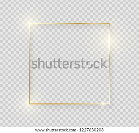 Gold shiny glowing vintage frame with shadows isolated on transparent background. Golden luxury realistic square border. Vector illustration