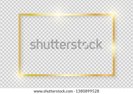 Gold shiny glowing vintage rectangle frame with shadows isolated on transparent background. Golden luxury realistic rectangle border. Vector illustration