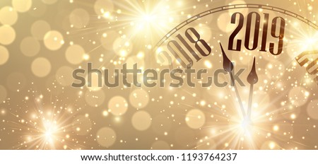 Gold shiny New Year 2019 poster with creative clock and fireworks. Vector background.