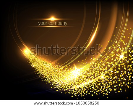 gold shiny waves and fire with