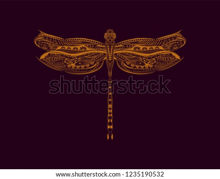 gold silhouette dragonfly on