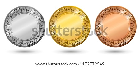 Gold, silver and bronze award medals with patterned border. Blank medals set. Blank of coins. Vector illustration.