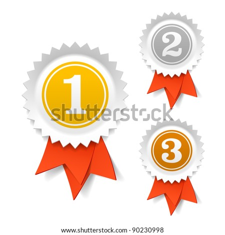 Shutterstock Gold, silver and bronze award ribbons. Vector.