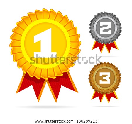 Gold silver and bronze awards on white Vector illustration