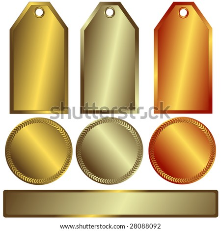 Gold, silver and bronze banners on white background (vector)