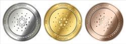 Gold, silver and bronze Cardano (ADA) cryptocurrency coin. Cardano (ADA) coin set.