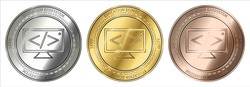 Gold, silver and bronze Education Ecosystem (LEDU) cryptocurrency coin. Education Ecosystem (LEDU) coin set.