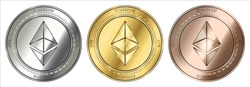 Gold, silver and bronze Ethereum (ETH) cryptocurrency coin. Ethereum (ETH) coin set.