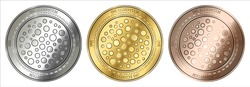 Gold, silver and bronze INS Ecosystem (INS) cryptocurrency coin. INS Ecosystem (INS) coin set.