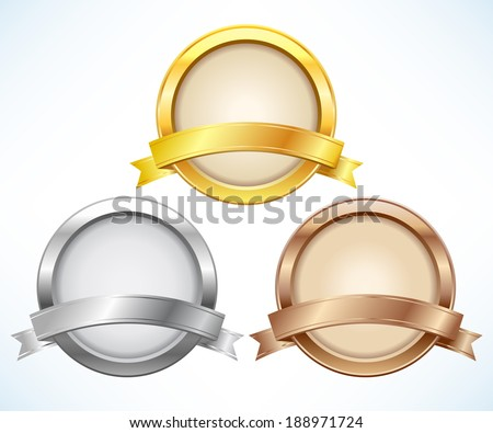 Gold, silver and bronze labels with ribbon