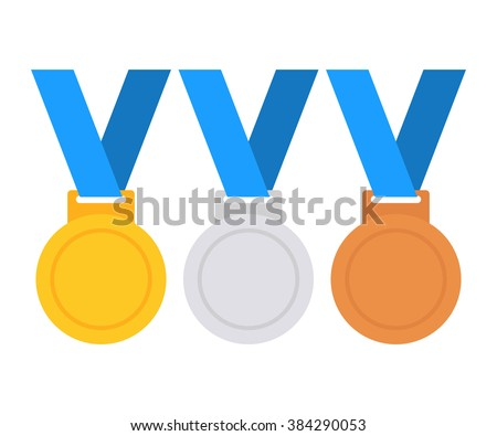 Gold, silver and bronze medal icon. Medal set. Vector set. Medal isolated on white background Stockfoto ©