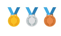 Gold, silver and bronze medal icon set. First, second and third place or award medals icon flat in modern colour design concept on isolated white background. EPS 10 vector.