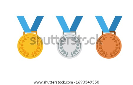 Gold, silver and bronze medal icon set. First, second and third place or award medals icon flat in modern colour design concept on isolated white background. EPS 10 vector. Stockfoto ©
