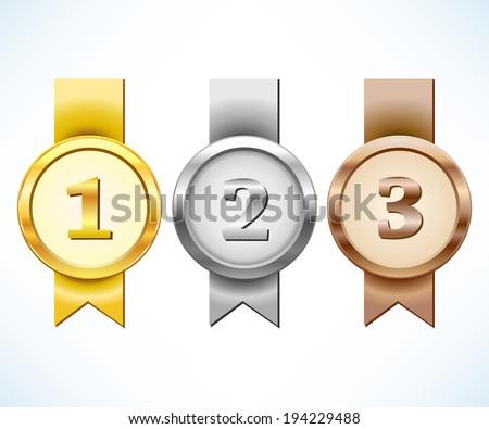 Gold, silver and bronze medal with ribbon