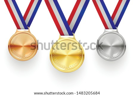 Gold, silver and bronze medals on ribbons realistic illustrations set. Sports competition first, second and third place awards isolated cliparts pack. Championship reward. Contest achievement, victory