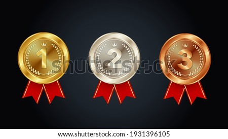 Gold,Silver and Bronze Medals Vector Illustration
