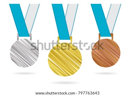Gold, silver and bronze medals. Vector illustration. Winter games 2018.