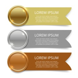 Gold, silver and bronze medals with banners for text design. Vector illustration