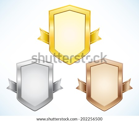 Gold, silver and bronze shield with ribbon