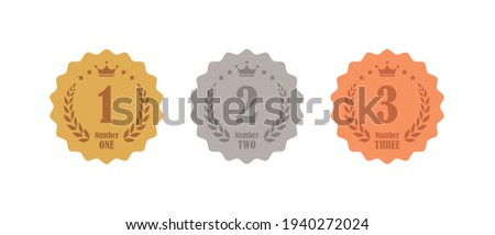 Gold, silver and bronze 1st, 2nd and 3rd ranking icon set Stockfoto ©