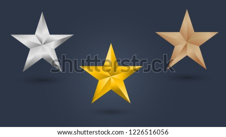 Gold Silver and Bronze star set vector illustration.