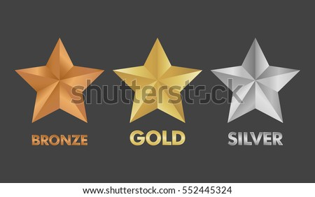 gold silver and bronze star set