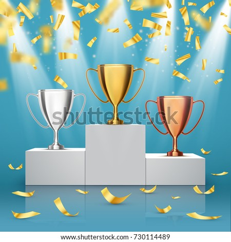 Gold, Silver and Bronze Trophy Cup on prize podium with confetti. Winners award. Vector
