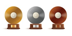 Gold, silver and bronze vinyl awards for music album or track. Audio discs, records for winners. Vector realistic 3d isolated illustrations.
