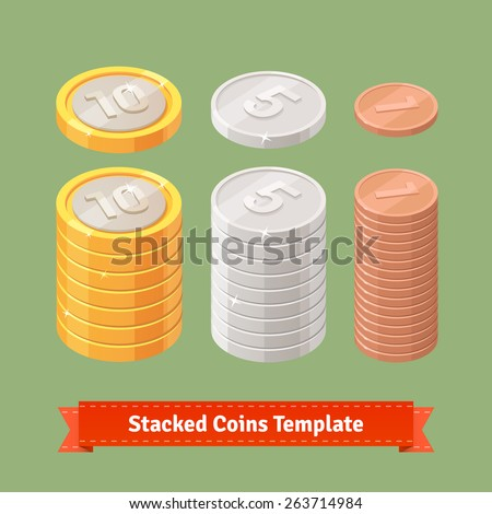 gold  silver and copper stacked