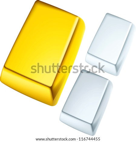 Gold, silver and platinum ingots