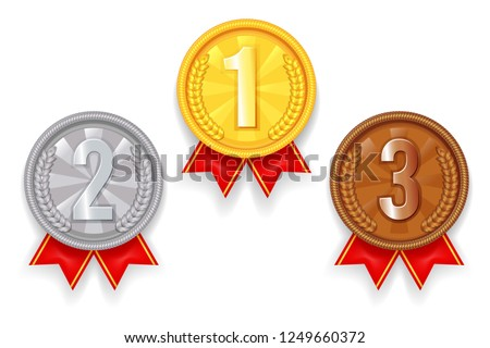 Gold silver bronze award sport 1st 3rd 2nd place medal red ribbon icons set vector illustration