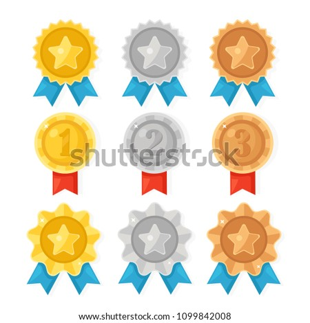 Gold, silver, bronze medal for first place. Trophy, award for winner  isolated on whit background. Set of golden badge with ribbon. Achievement, victory. Vector cartoon illustration Flat design