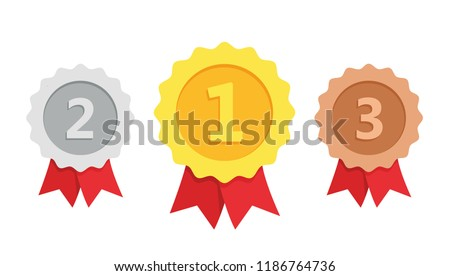 Gold, silver, bronze medal. 1st, 2nd and 3rd places. Trophy with red ribbon. Flat style - stock vector.