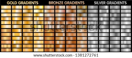 Gold, silver, bronze metalic gradients. Big collection of vector gradients for backgrounds, cover, frame, ribbon, flyer, card, poster, banner, coin, label, .