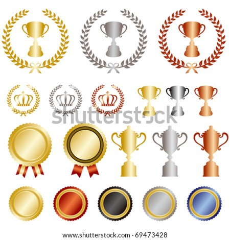 gold silver bronze rank set - stock vector