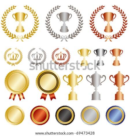 gold silver bronze rank set