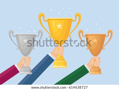 Gold, silver, bronze trophy cup, goblet in hand isolated on background. 1st, 2st, 3st place, winner award. Vector illustration
